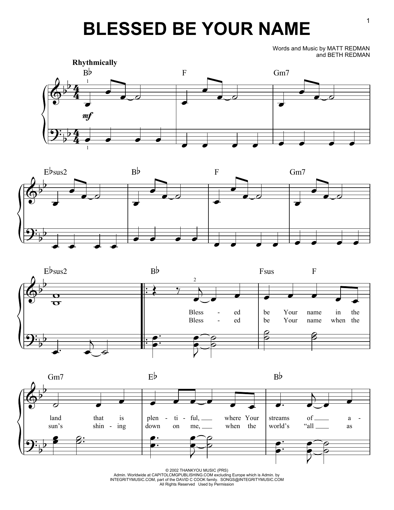 10000 Reasons Bless the Lord Sheet Music  For Piano