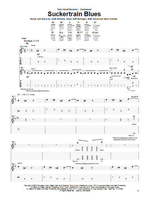 Tablature guitare Suckertrain Blues de Velvet Revolver - Tablature Guitare