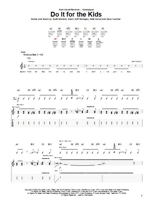 Tablature guitare Do It For The Kids de Velvet Revolver - Tablature Guitare