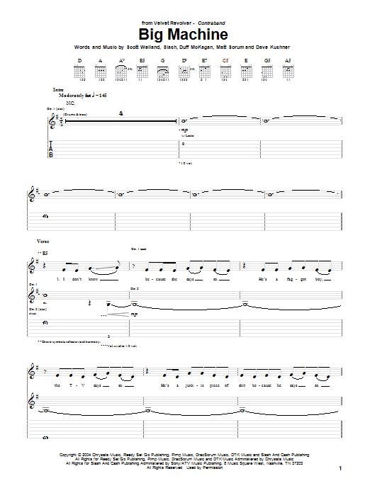 Tablature guitare Big Machine de Velvet Revolver - Tablature Guitare