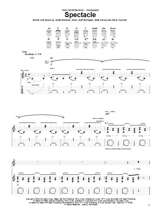 Tablature guitare Spectacle de Velvet Revolver - Tablature Guitare