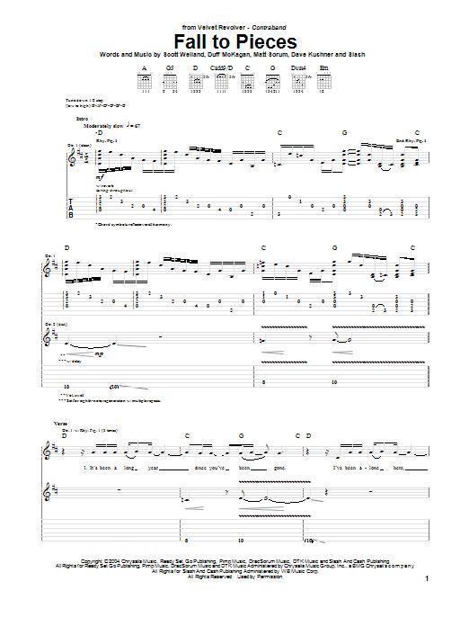 Tablature guitare Fall To Pieces de Velvet Revolver - Tablature Guitare