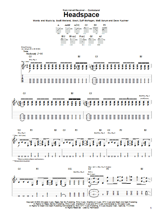 Tablature guitare Headspace de Velvet Revolver - Tablature Guitare
