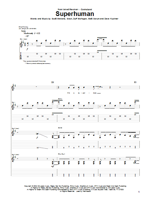 Tablature guitare Superhuman de Velvet Revolver - Tablature Guitare