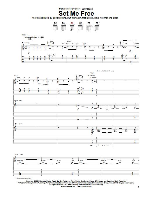 Tablature guitare Set Me Free de Velvet Revolver - Tablature Guitare