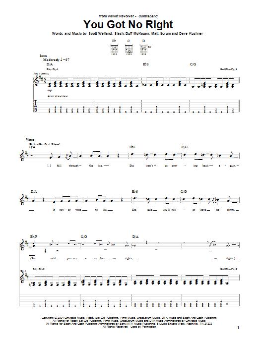 Tablature guitare You Got No Right de Velvet Revolver - Tablature Guitare