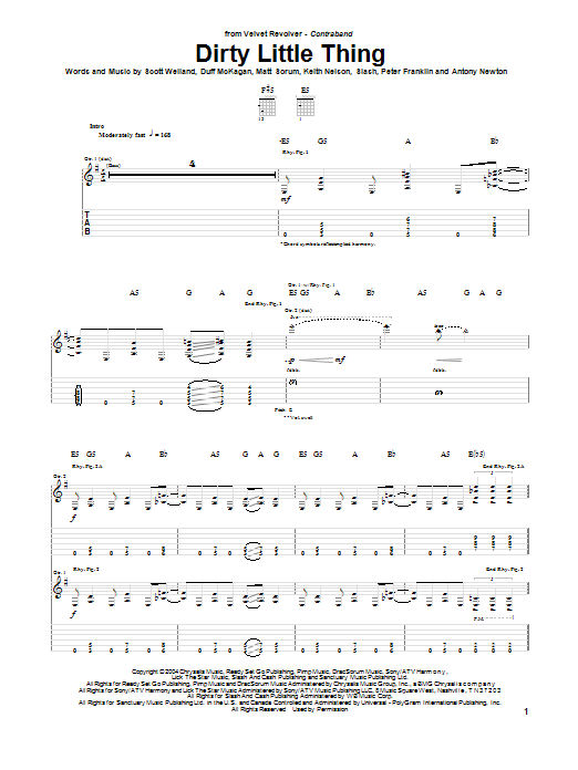 Tablature guitare Dirty Little Thing de Velvet Revolver - Tablature Guitare