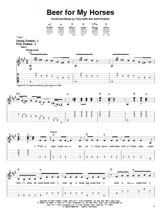 Tablature guitare Beer For My Horses de Toby Keith - Tablature guitare facile