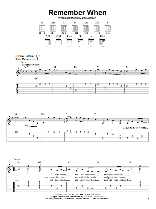 Tablature guitare Remember When de Alan Jackson - Tablature guitare facile