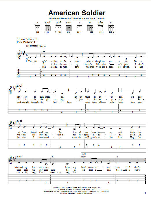 American Soldier sheet music for guitar solo (easy tablature) by Chuck Cannon