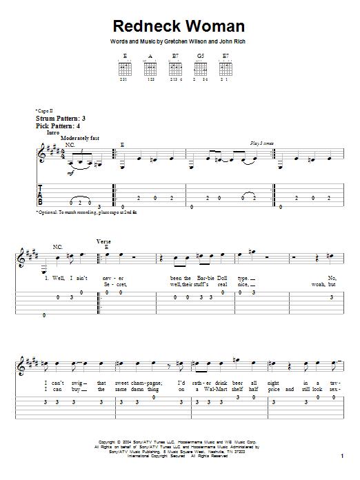 Tablature guitare Redneck Woman de Gretchen Wilson - Tablature guitare facile