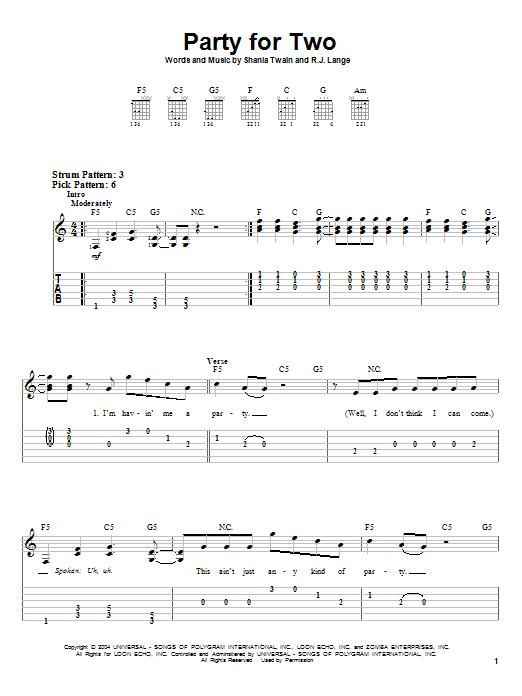 Tablature guitare Party For Two de Shania Twain - Tablature guitare facile