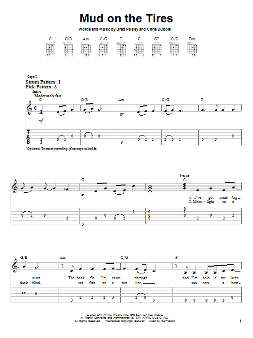 Tablature guitare Mud On The Tires de Brad Paisley - Tablature guitare facile