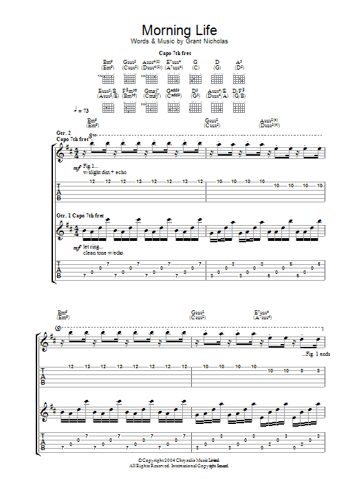 Morning Life sheet music for guitar solo (tablature) by Grant Nicholas