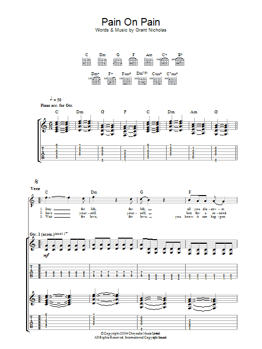 Pain On Pain sheet music for guitar solo (tablature) by Grant Nicholas