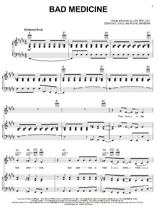 Bad Medicine sheet music for voice, piano or guitar by Richie Sambora