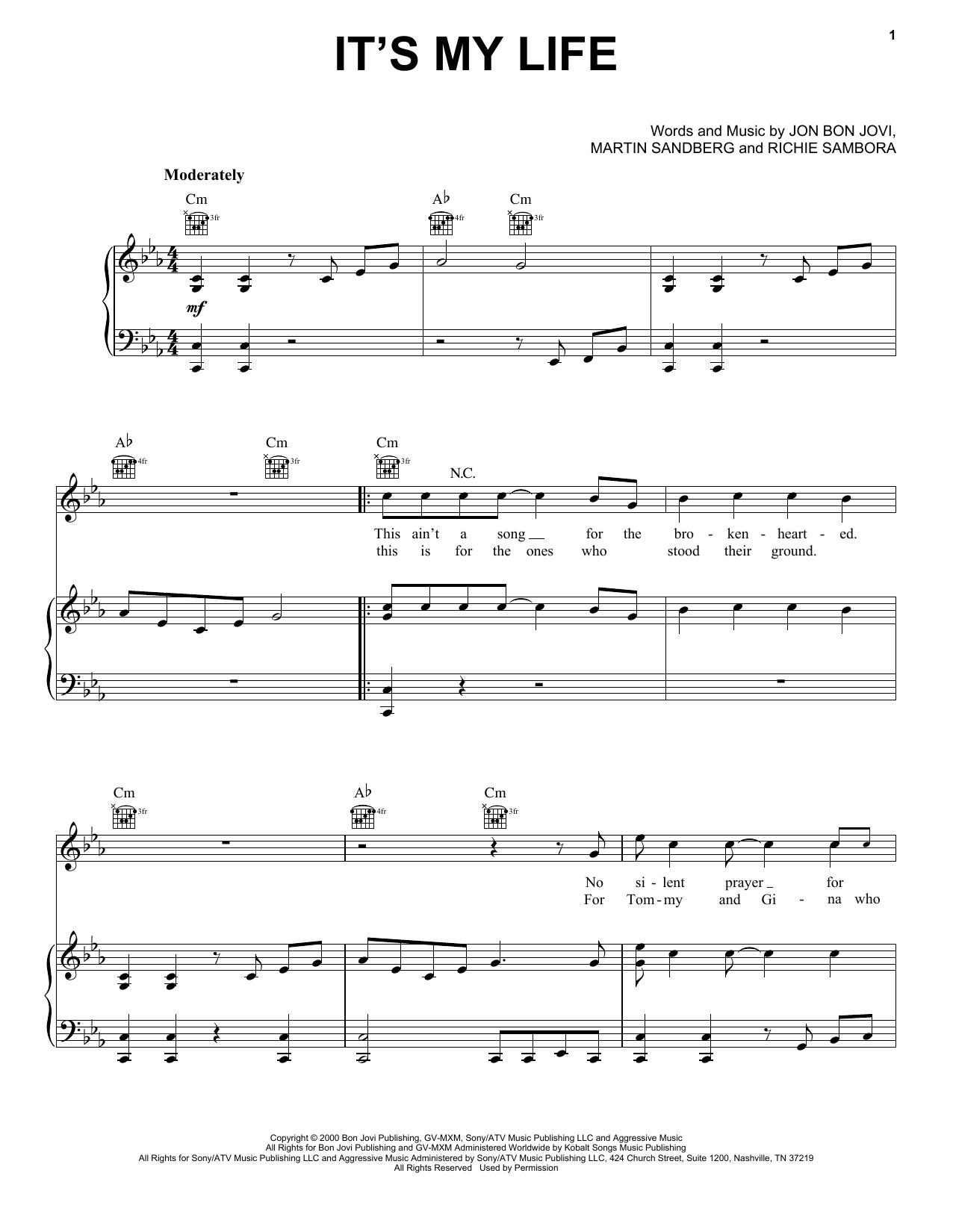 Partition piano It's My Life de Bon Jovi - Piano Voix Guitare (Mélodie Main Droite)