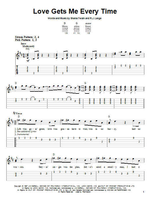 Tablature guitare Love Gets Me Every Time de Shania Twain - Tablature guitare facile