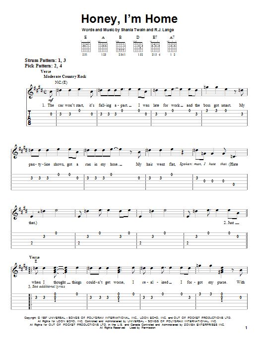 Tablature guitare Honey, I'm Home de Shania Twain - Tablature guitare facile