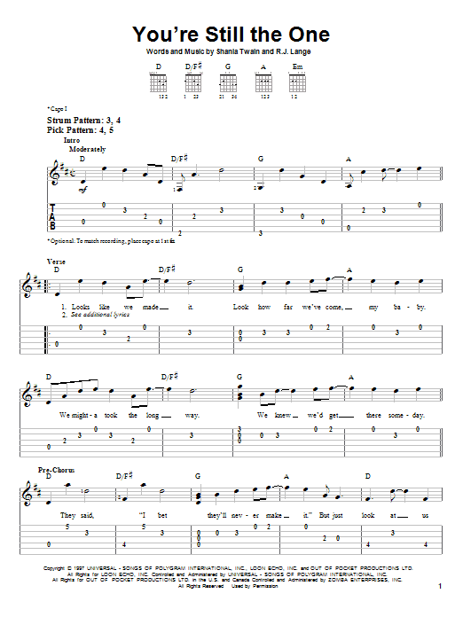 Tablature guitare You're Still The One de Shania Twain - Tablature guitare facile