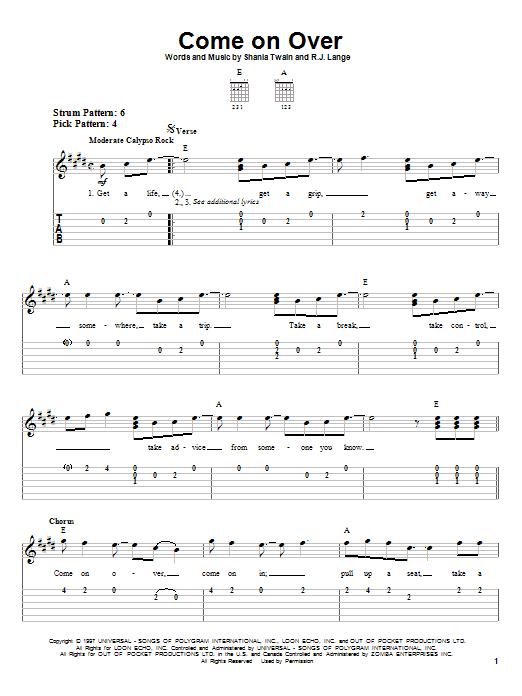 Tablature guitare Come On Over de Shania Twain - Tablature guitare facile