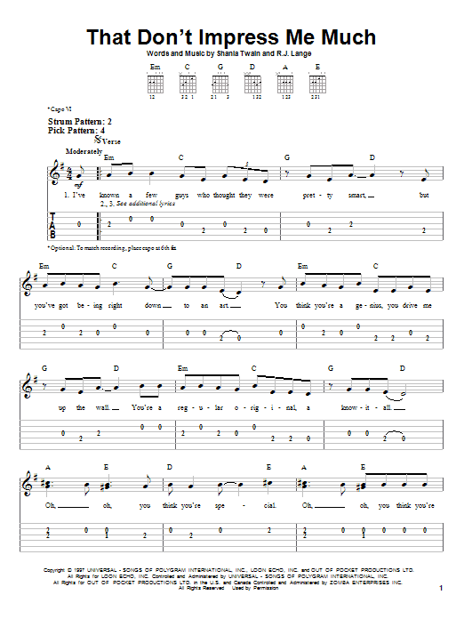Tablature guitare That Don't Impress Me Much de Shania Twain - Tablature guitare facile