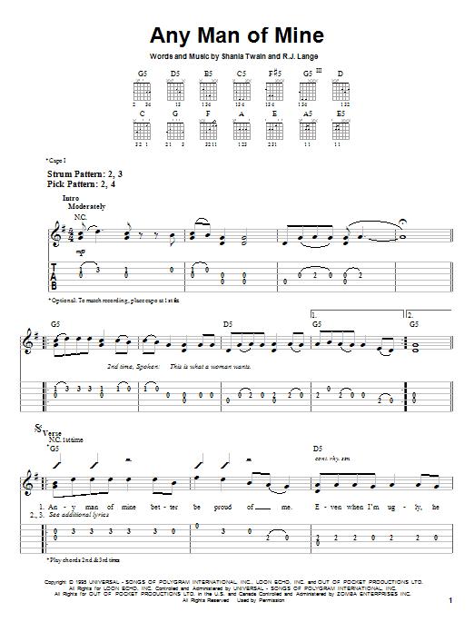 Tablature guitare Any Man Of Mine de Shania Twain - Tablature guitare facile
