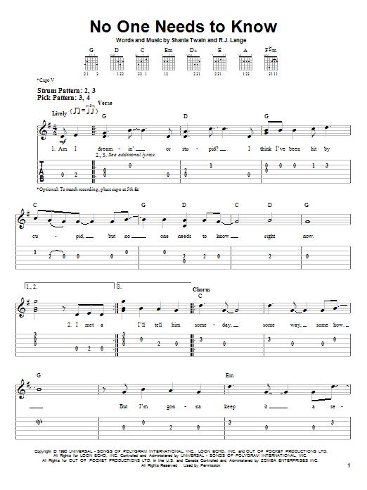 Tablature guitare No One Needs To Know de Shania Twain - Tablature guitare facile