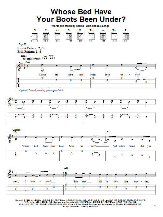 Tablature guitare Whose Bed Have Your Boots Been Under? de Shania Twain - Tablature guitare facile