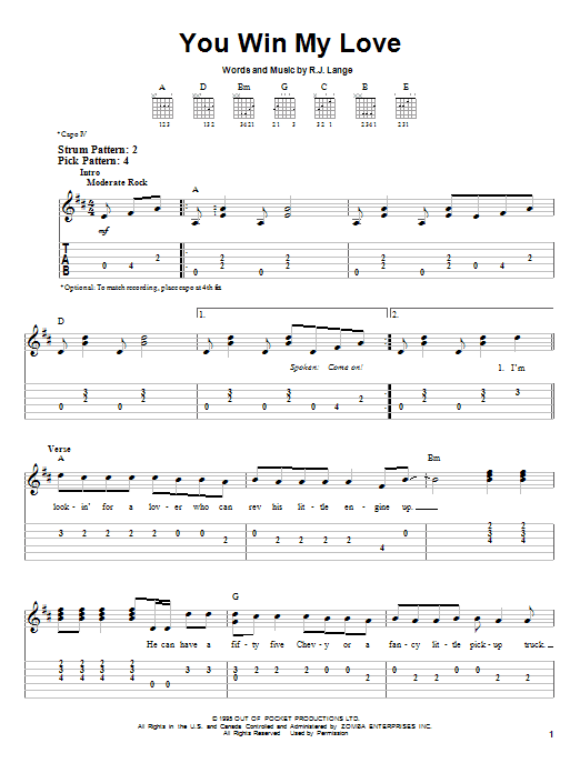 Tablature guitare You Win My Love de Shania Twain - Tablature guitare facile