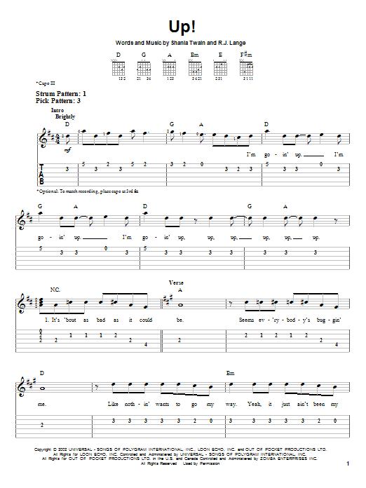 Tablature guitare Up! de Shania Twain - Tablature guitare facile