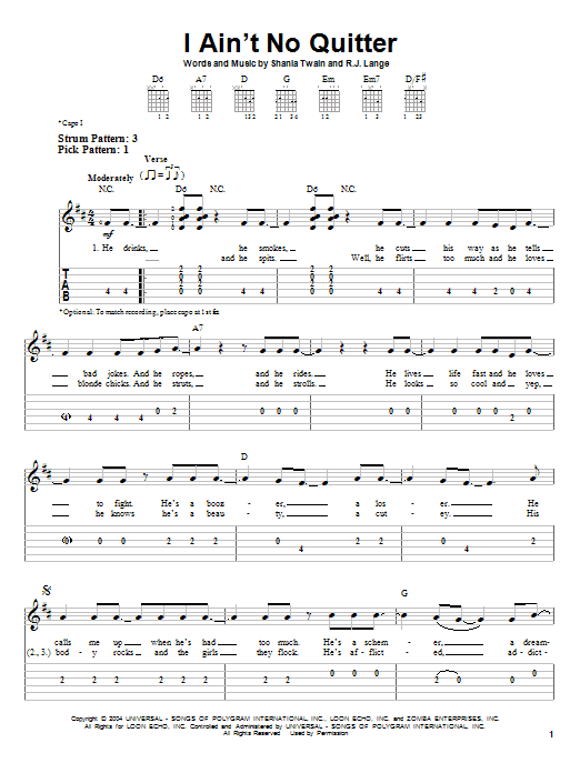 Tablature guitare I Ain't No Quitter de Shania Twain - Tablature guitare facile