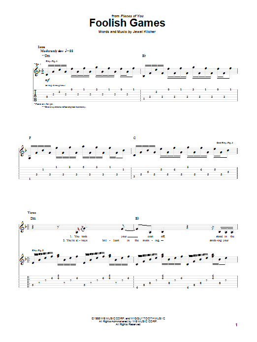 Foolish Games sheet music for guitar solo (tablature) by Jewel Kilcher