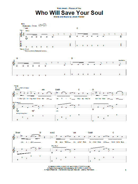 Tablature guitare Who Will Save Your Soul de Jewel - Tablature Guitare