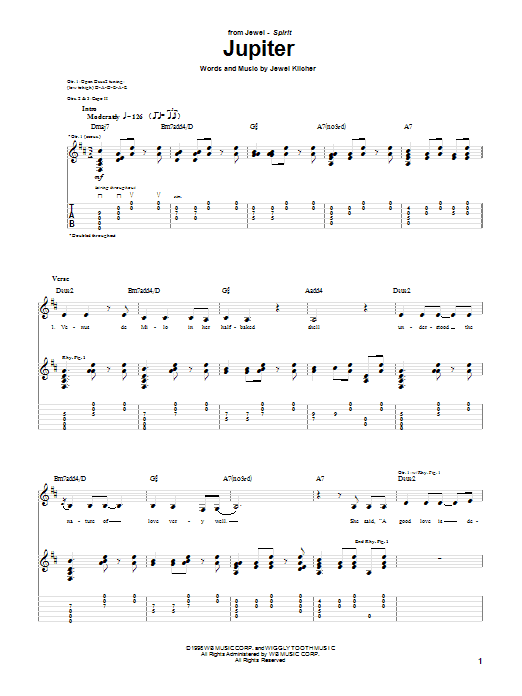Jupiter sheet music for guitar solo (tablature) by Jewel Kilcher