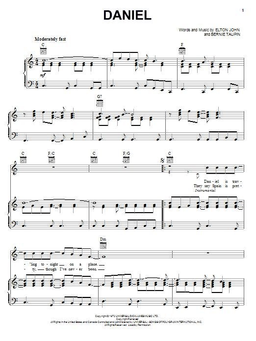 Partition piano Daniel de Elton John - Piano Voix Guitare (Mélodie Main Droite)