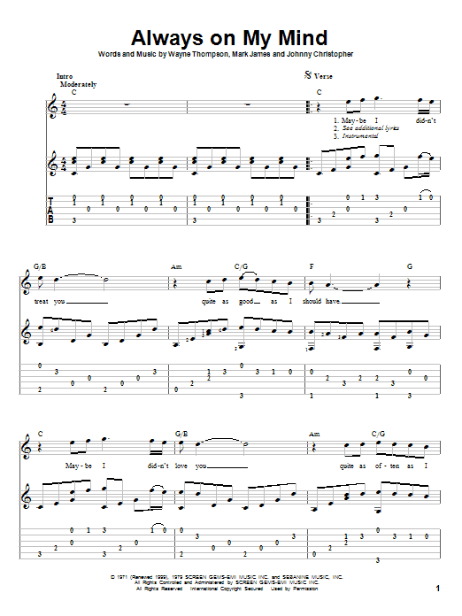 Always On My Mind sheet music for guitar solo by Wayne Thompson