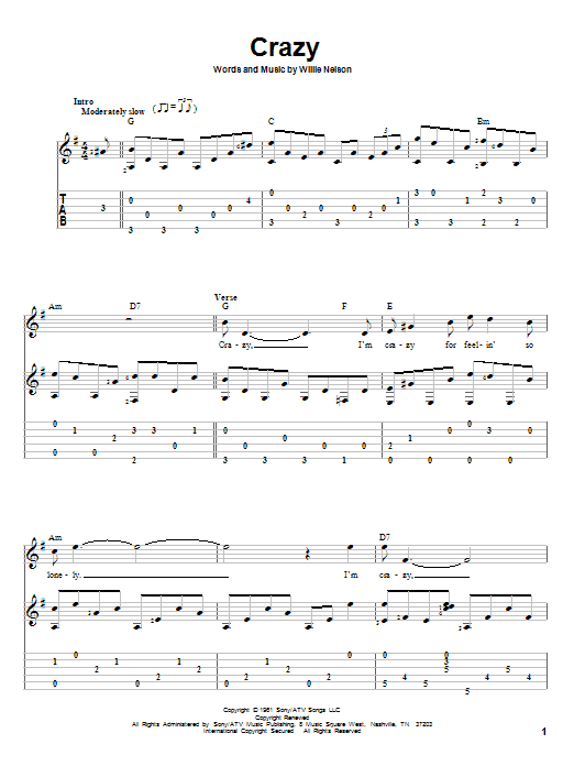 Crazy sheet music for guitar solo by Willie Nelson