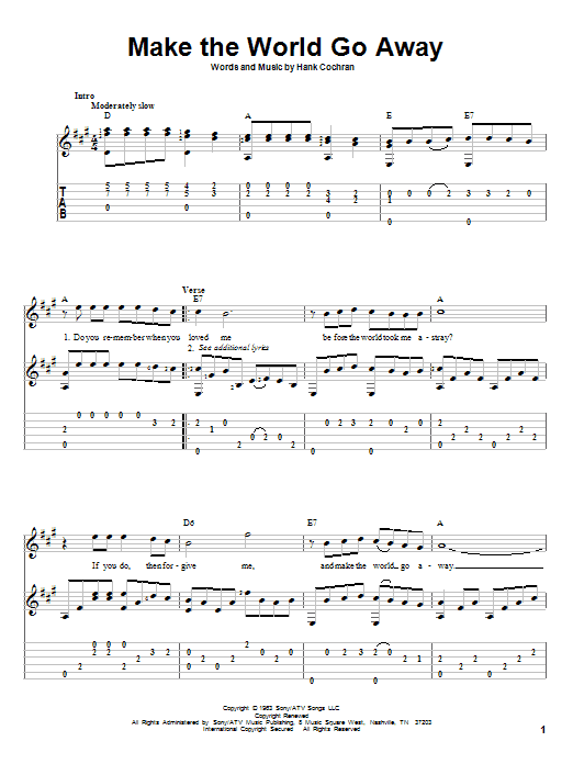 Make The World Go Away sheet music for guitar solo by Hank Cochran