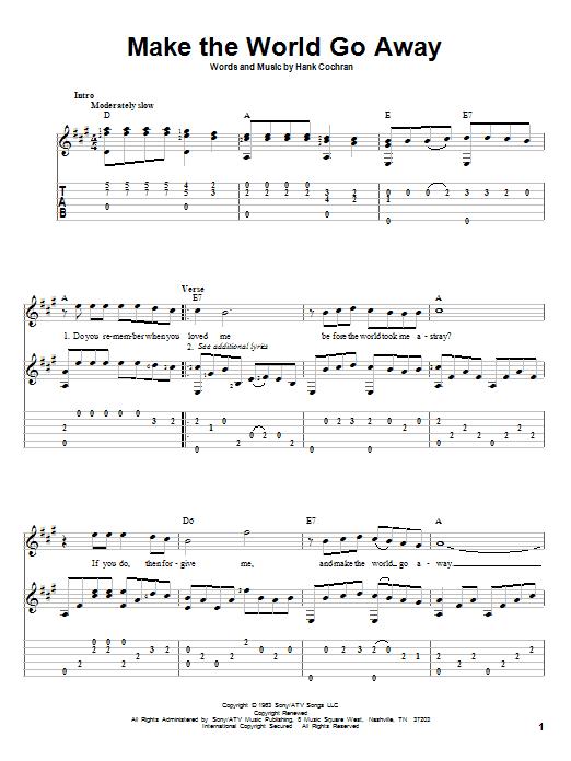 Tablature guitare Make The World Go Away de Eddy Arnold - Tablature Guitare