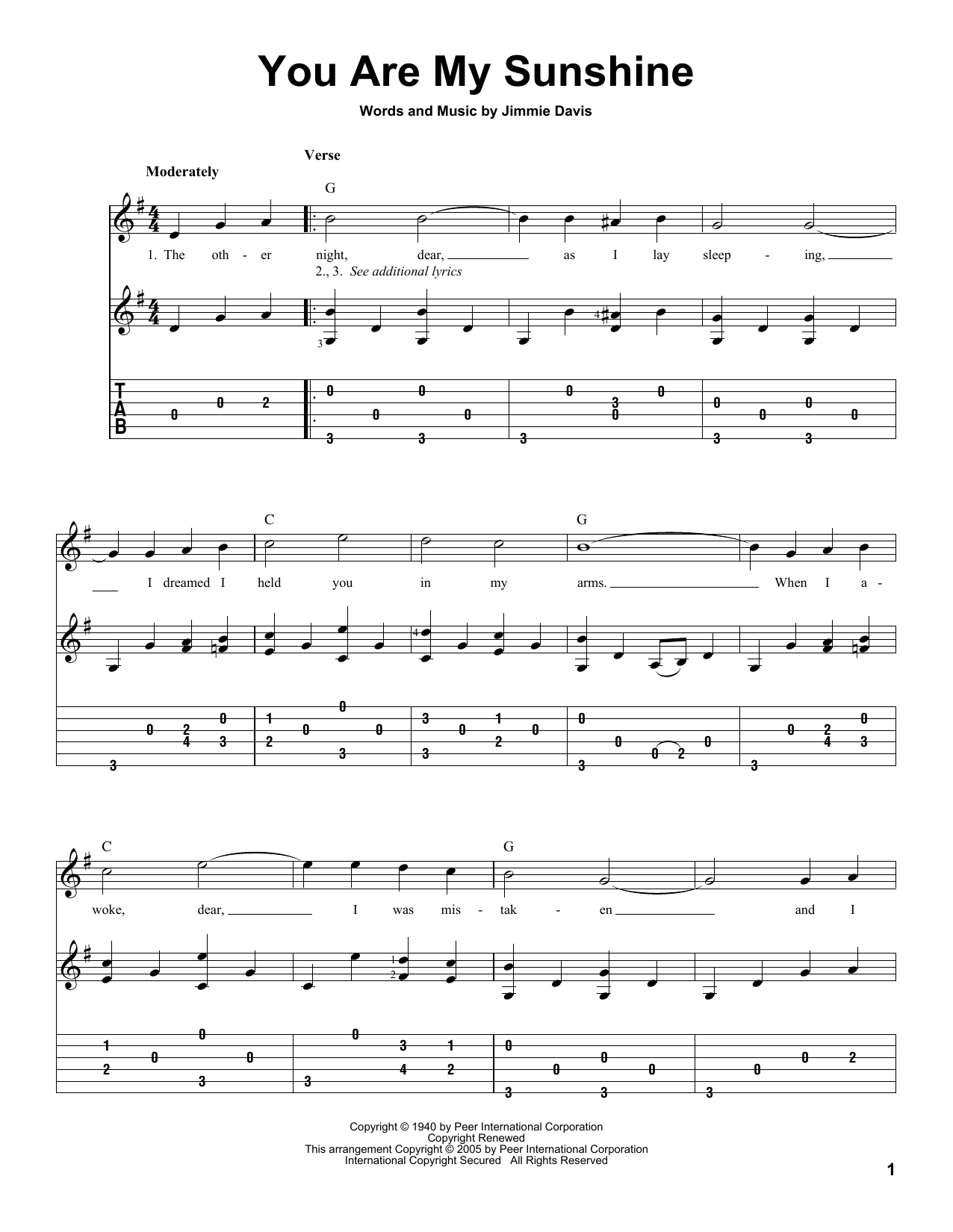 Tablature guitare You Are My Sunshine de Jimmie Davis - Tablature Guitare