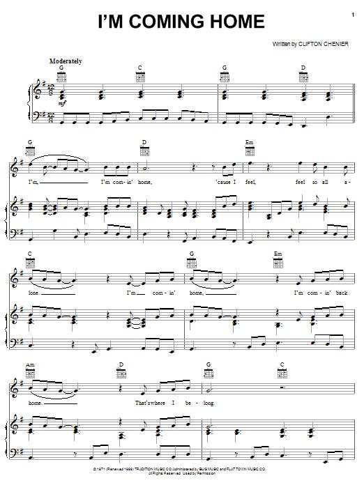 Partition piano I'm Coming Home de C.J. Chenier - Piano Voix Guitare (Mélodie Main Droite)