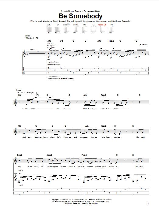 Tablature guitare Be Somebody de 3 Doors Down - Tablature Guitare