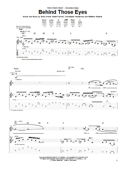Tablature guitare Behind Those Eyes de 3 Doors Down - Tablature Guitare