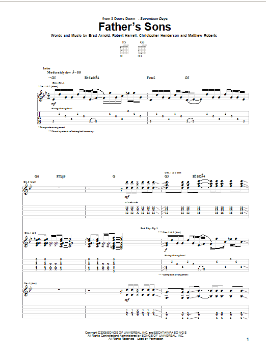 Tablature guitare Father's Sons de 3 Doors Down - Tablature Guitare