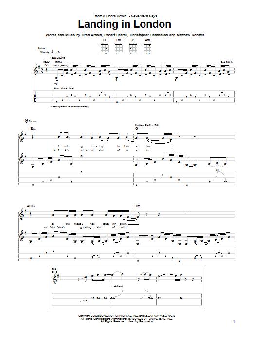 Tablature guitare Landing In London de 3 Doors Down - Tablature Guitare