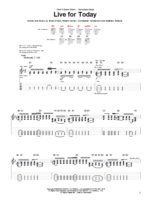 Tablature guitare Live For Today de 3 Doors Down - Tablature Guitare