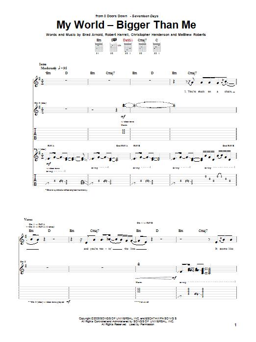 Tablature guitare My World - Bigger Than Me de 3 Doors Down - Tablature Guitare