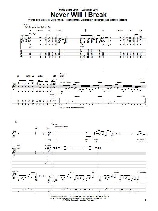 Tablature guitare Never Will I Break de 3 Doors Down - Tablature Guitare