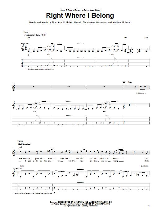 Tablature guitare Right Where I Belong de 3 Doors Down - Tablature Guitare